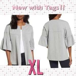 Bell Sleeve Grey French Terry Jacket 💜